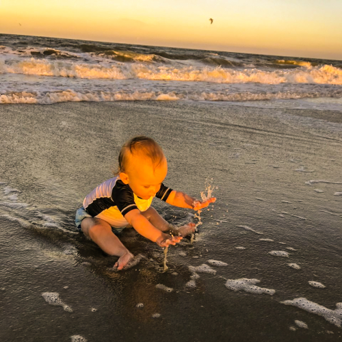 Water Baby Greets the Ocean