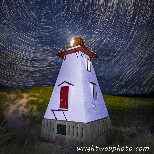 Startrails Over St Peters Lighthouse PEI