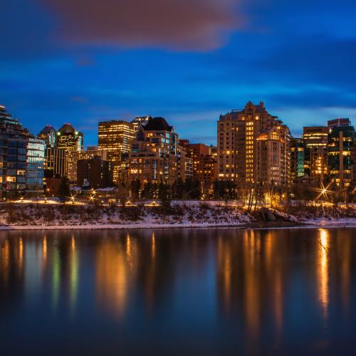 Calgary Nighttime City Reflections