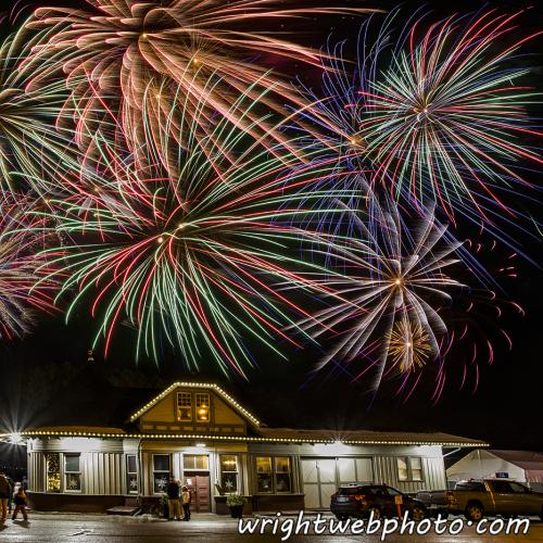 Fireworks Over the Uxbridge Historic Train Station.
